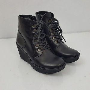 FLY London YARN Dark Black Leather Wedge Boots